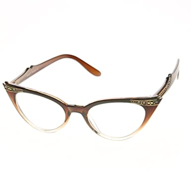 363b8f33a1 Vintage Cateyes 80s Inspired Fashion Clear Lens Cat Eye Glasses with  Rhinestones  Amazon.co.uk  Clothing