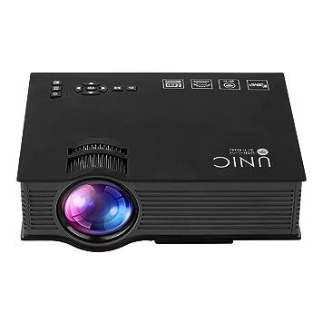 UNIC UC46+ HD Proyector 1080P Duplicacion de Pantalla Movil PC por WIFI Cable (1200 Lumenes, Proyeccion 34