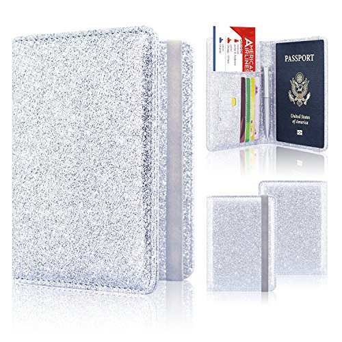 Passport Holder Cover, ACdream Travel Leather RFID Blocking Case Wallet for Passport with Elastic Band Closure, Silver Glitter