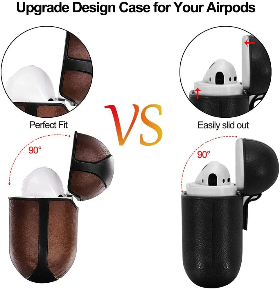 V-MORO Airpods Pro Case Compatible with Apple Airpods Pro 2019 Leather Protective case Cover Dark Brown
