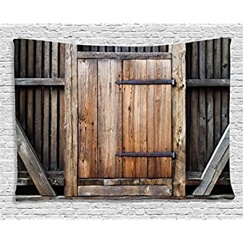 Ambesonne Antique Decor Tapestry, Rustic Antique Wooden Door Exterior  Facades Rural Barn Timber Weathered, Wall Hanging For Bedroom Living Room  Dorm, ...