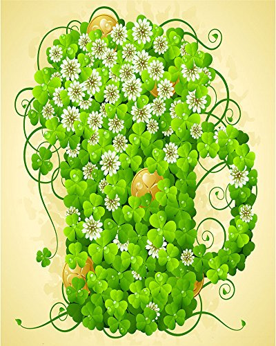 (RBabyPhoto Lucky Irish Shamrock Backdrop 3X5FT Green Four Leaf Clover Green Beer Mug Pot of Gold Photography Background for Leprechauns Celebrate St. Patrick's Day Photo Studio Props Vinyl)