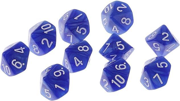 Set de 10 Piezas Plástico Dados De 10 Lados D10 para Accesorio De Juego De Barra De Fiesta Juegos de Dados Juegos de Mesa - Azul: Amazon.es: Juguetes y juegos