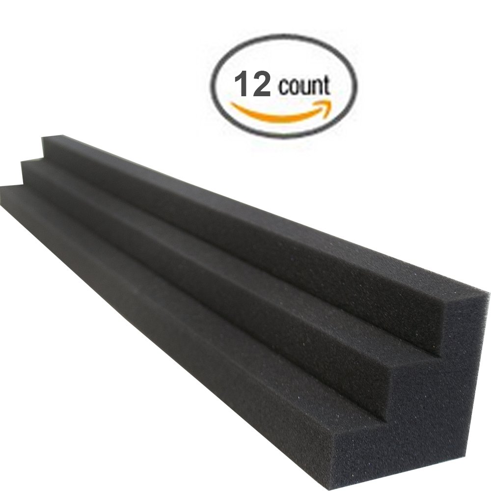 XL Column Acoustic Wedge Studio Foam Corner Block Finish Corner Wall in Studios or Home Theater (12 Pack) by Foamily