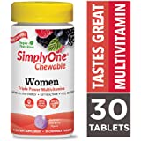 SuperNutrition, SimplyOne Multi-Vitamin for Women, High-Potency, One/Day Chewable Tablets, Wild Berry, 30 Day Supply