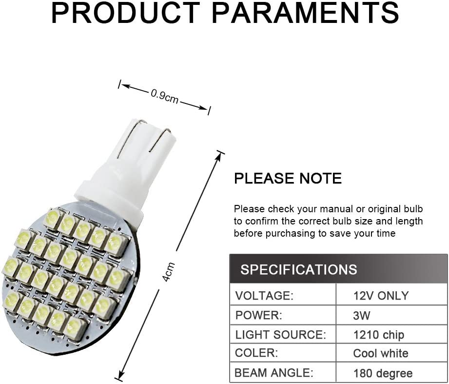 Yolu 2-Pack T10 LED Cool White 24-SMD 1210 T10 W5W LED Bulbs Super Bright Interior Replacement Side Lights 168 194 2825 Wedge Bulbs for 12V License Plate Dashboard Side Marker Light Map Dome Lamp