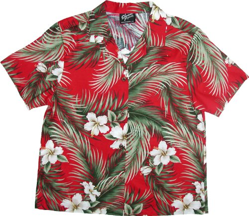 RJC Womens White Hibiscus Camp Shirt in Red - 1X Plus