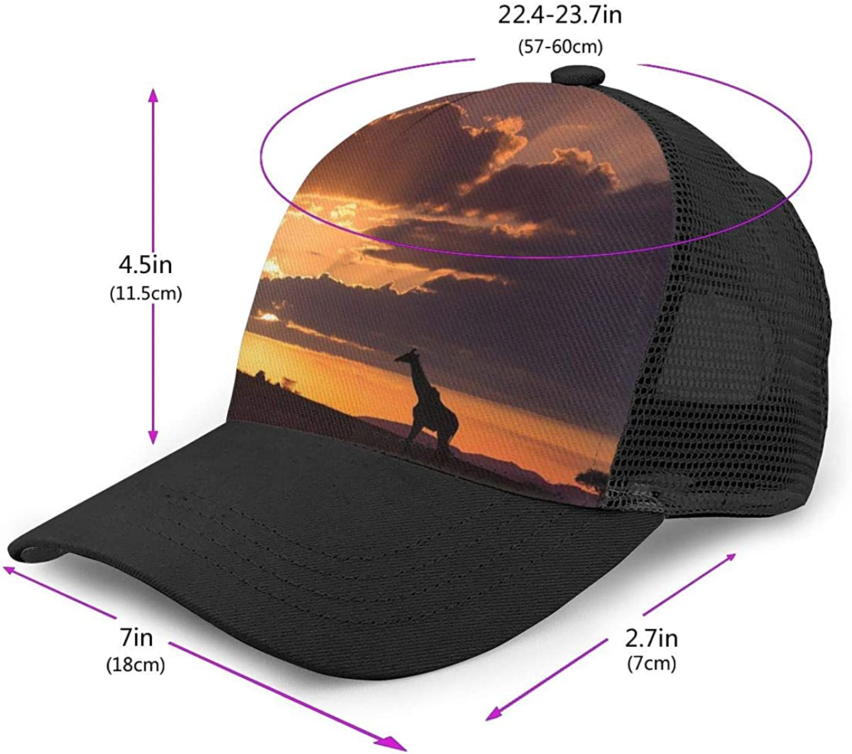 Mens and Womens Giraffe in The Sunset Flat Baseball Hat Vintage Sports Cap for Unisex