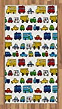 Boy's Room Area Rug by Lunarable, Hand Drawn Doodled Car Pattern Cartoonish Style Police Ambulance School Bus Car, Flat Woven Accent Rug for Living Room Bedroom Dining Room, 2.6 x 5 FT, Multicolor