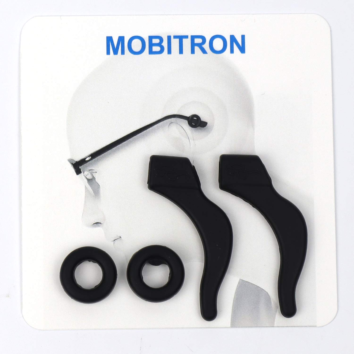 MOBITRON Silicone Eyeglass Retainers, Anti-Slip Elastic Comfort Glasses Retainers for Spectacle Sunglasses, Reading Glasses and Eyewear by MOBITRON