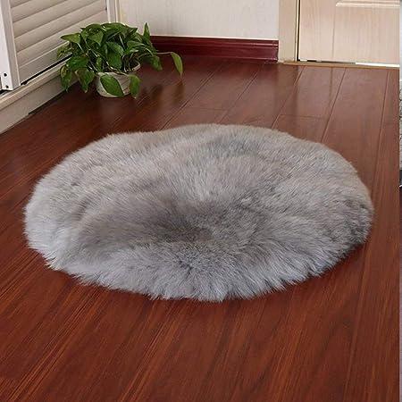 HEQUN Circular Faux Fur Sheepskin Style Rug Faux Fleece Chair Cover Seat Pad Soft Fluffy Shaggy Area Rugs For Bedroom Sofa Floor (Grey, 45 X 45CM)