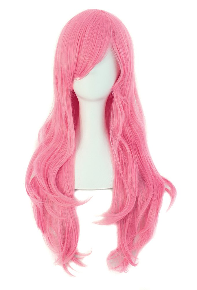 """MapofBeauty 28"""" 70cm Long Curly Hair Ends Costume Cosplay Wig (Pink)"""