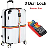 Luggage Strap, Heavy Duty Cross Design Adjustable Packing Belt 4M/13FT Long Suitcase Bag Security Straps with 3-Dial Combination Lock