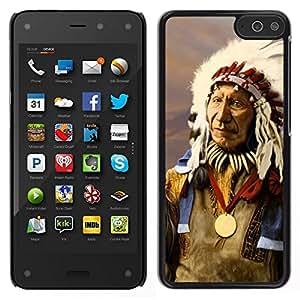 Caucho caso de Shell duro de la cubierta de accesorios de protección BY RAYDREAMMM - Amazon Fire Phone - Plumas indios nativos americanos del viejo hombre