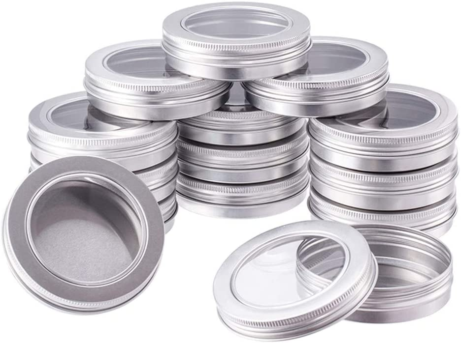 BENECREAT 14 Pack 3.4 OZ Tin Cans Screw Top Round Aluminum Cans Screw Lid Containers with Clear Window - Great for Store Spices, Candies, Tea or Gift Giving (Platinum)