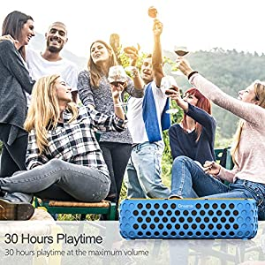 Solar Bluetooth Speaker, Dreamix 30+ Hours Playtime Portable Wireless Stereo Bass IP65 Splashproof Outdoor Bluetooth 4.0 Speaker for Beach, Poolside, Shower, Bike, Camping - Blue