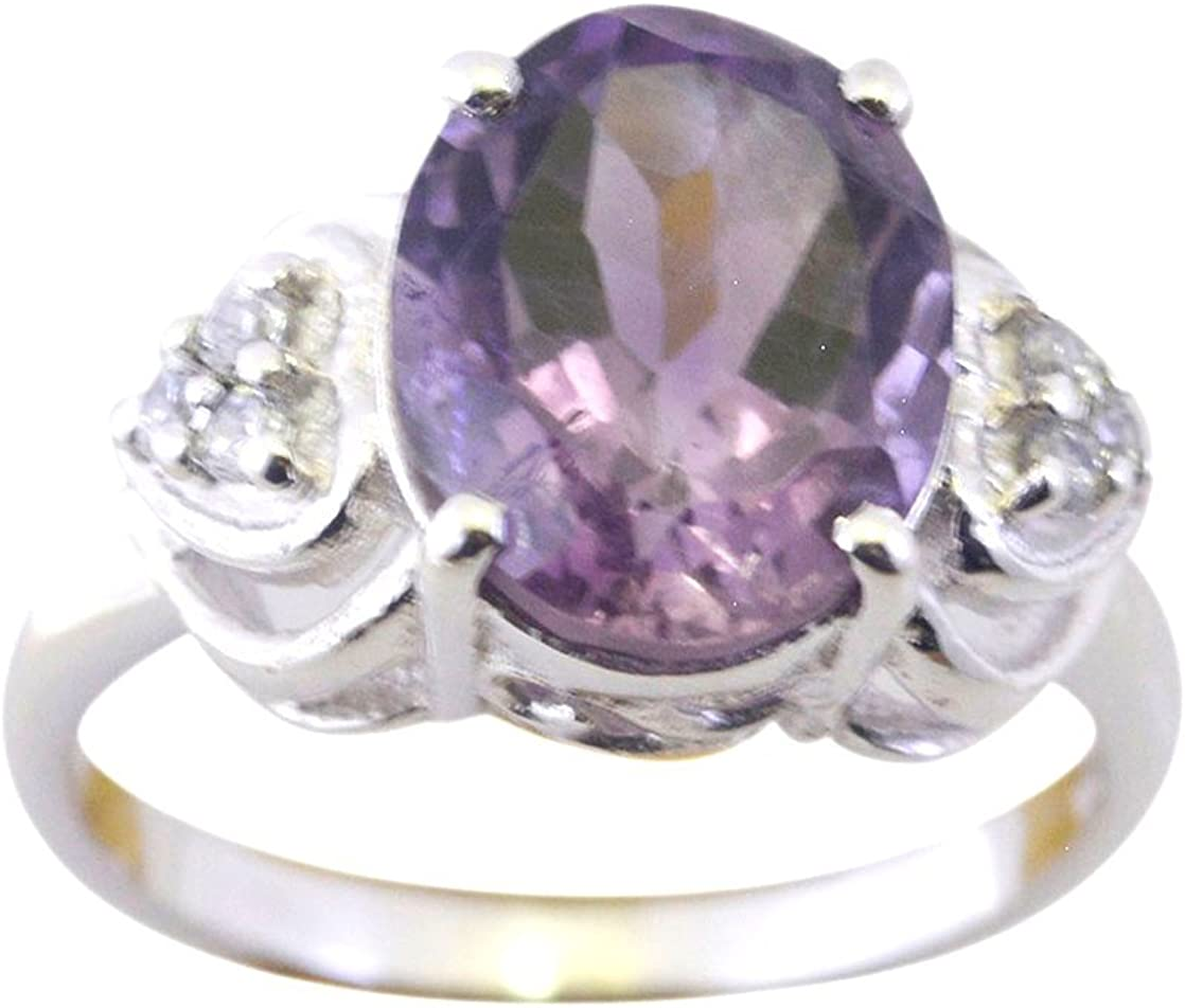 18-Inch Rhodium Plated Necklace with 6mm Amethyst Birthstone Beads and Sterling Silver Saint Zoe of Rome Charm.