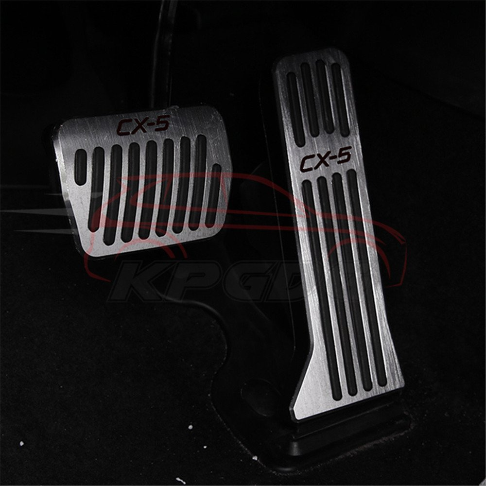 2 Pcs Fit for All New Mazda CX5 CX-5 2017 2018 Aluminium Brake Foot Rest Pedals Plate - Silver