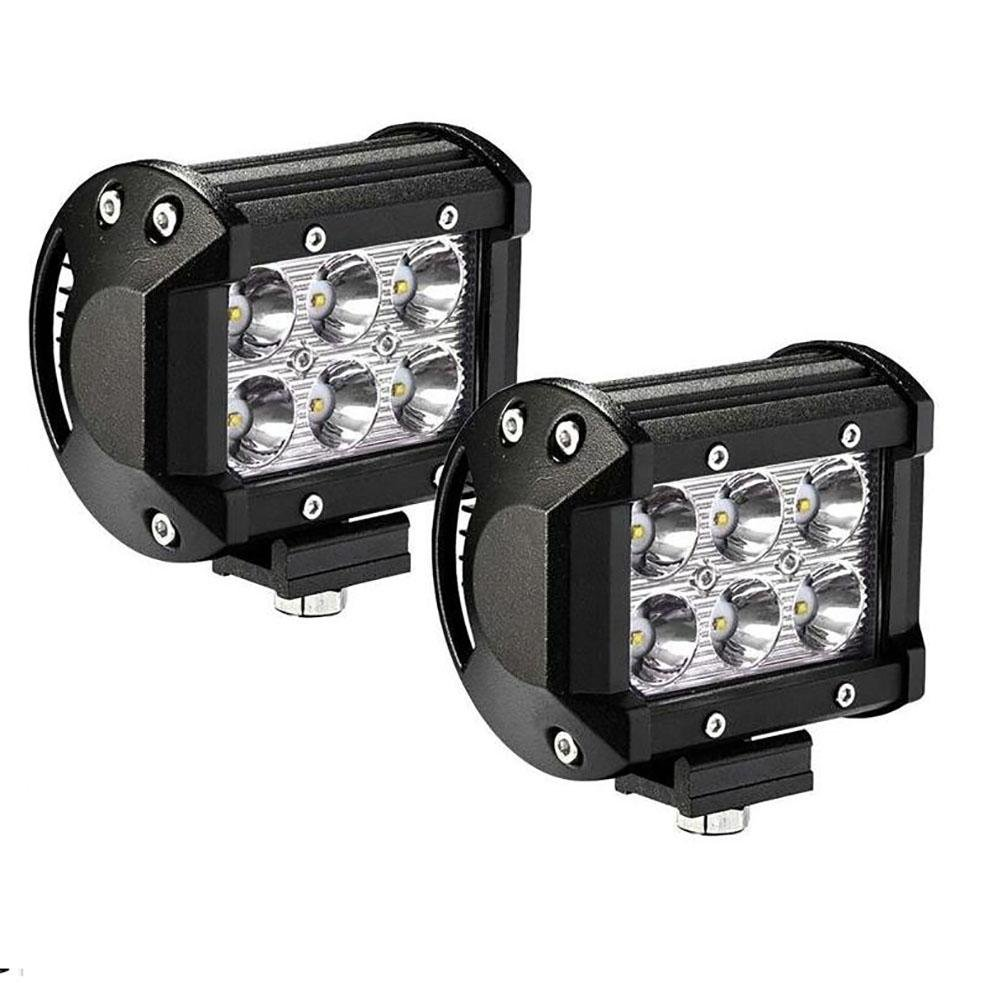 PPSAERTE® 2 X 18w 1800 lúmenes Cree LED Spot Light para todo terreno SUV Barco 4x4 Jeep Lamp Tractor Marine Off-Road Lighting Rv Atv (paquete de 2): ...