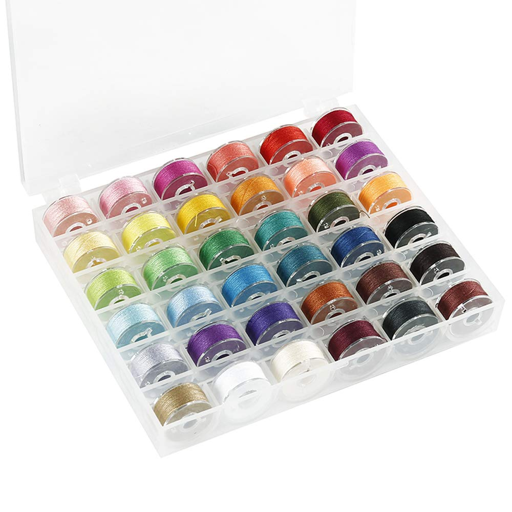 36Pcs Sewing Machine Bobbin Threads with Storage Case Box Multicoloured Pre-Wound Bobbins Set for Brother//Babylock//Janome//Elna//Kenmore//Babylock//Singer Sewing Machine