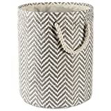 DII Woven Paper Basket or Bin, Collapsible & Convenient Organization & Storage Solution for Your Home (Large Round - 15x20) - Gray Chevron