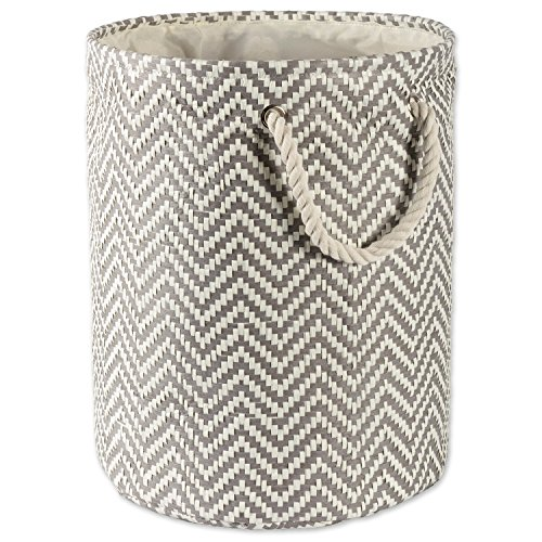 DII Woven Paper Basket or Bin, Collapsible & Convenient Organization & Storage Solution for Your Home (Large Round - 15x20') - Gray Chevron