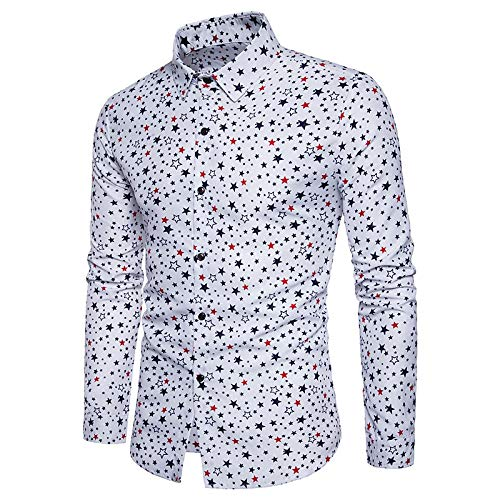 White Large Men's Cotton Slim Shirt  Solid colord Long Sleeve