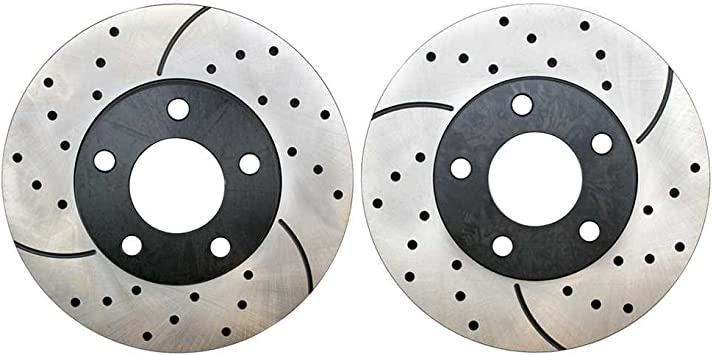 Prime Choice Auto Parts PR63028LR Performance Drilled and Slotted Brake Rotor Pair for Front
