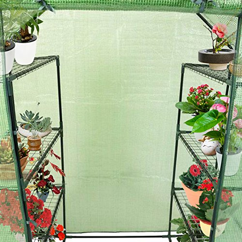 Goplus Portable Greenhouse 8 Shelves Mini Walk in Outdoor Green House 4 Tier w/PE Cover for Garden Patio Backyard (56'' ×29'' × 77'') by Goplus (Image #3)