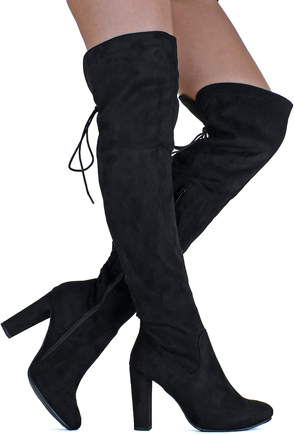 Details about  /Women Non-slip Chunky Heel Round Toe Over The Knee Thigh High Boots Winter