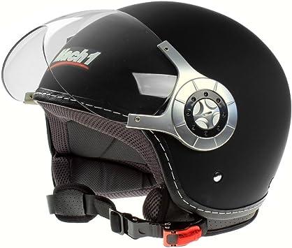 Mach1 Jethelm Motorradhelm Ece R 22 05 Schwarz Roller Scooter Helm Größe Xs Bis Xxl Mit Durchsichtigem Visier Sport Freizeit