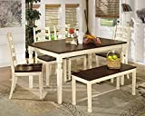 country kitchen table with bench Ashley Furniture Signature Design - Whitesburg 6-Piece Dining Room Set - Includes Rectangular Table, Bench & 4 Chairs