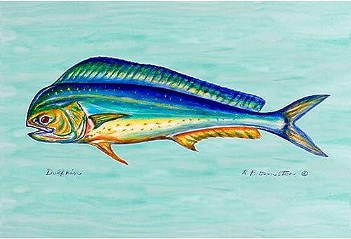Betsy Drake Coastal Dolphin Fish Door Mat, 30 x 50