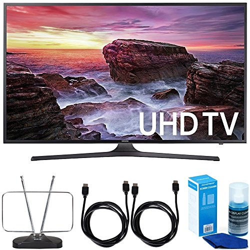 "Samsung UN40MU6290 6-Series Flat 39.9"" LED 4K UHD Smart TV w/ Antenna Bundle includes TV, HDTV and FM Antenna, 6ft High Speed HDMI Cable x 2, and Universal Screen Cleaner"