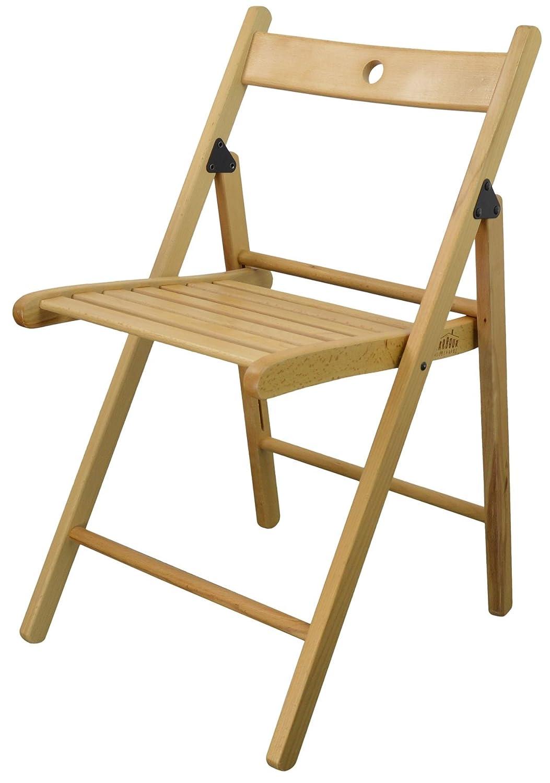 Harbour Housewares Wooden Folding Chair - Natural Wood Colour…