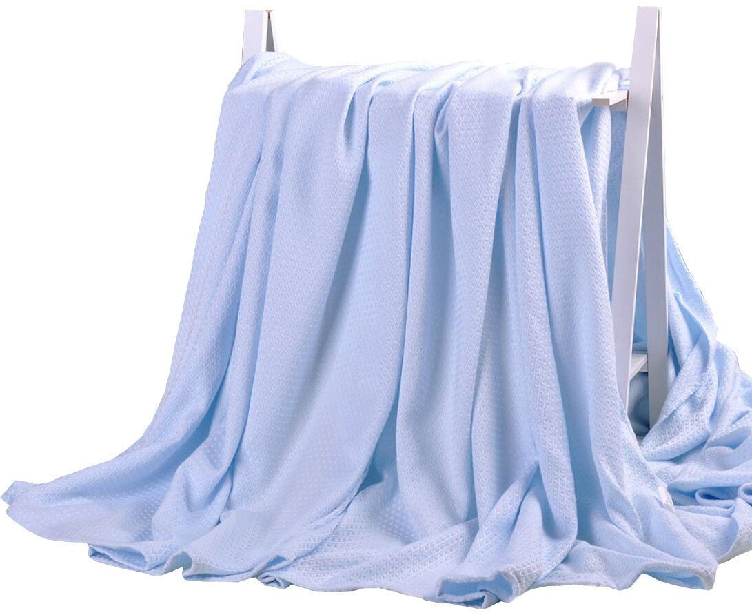 DANGTOP Air Conditioning Cool Blanket with Bamboo Microfiber- Summer Thin Quilt Lightweight for Adults and Teens(79''X91'',Large Blue).