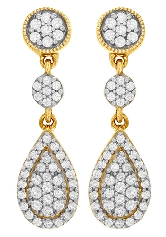 Weißszlig; natürlicher Diamant Tropfenform baumeln Ohrringe in 14 ct 585 Massiv Weißszlig; Gold (0,33 Karat Gesamtgewicht) 14 Karat (585) GelbGold