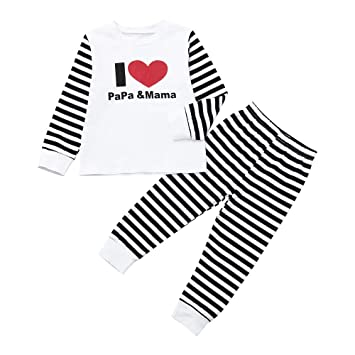 397ef029d Amazon.com  2PCS Strip Set For Infant Kids Baby Boy Girl Long ...
