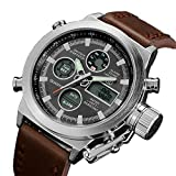 Affute Military Sports Men's Watch PU Leather Strap Dual Time Digital Led Wrist watches Gift Idea