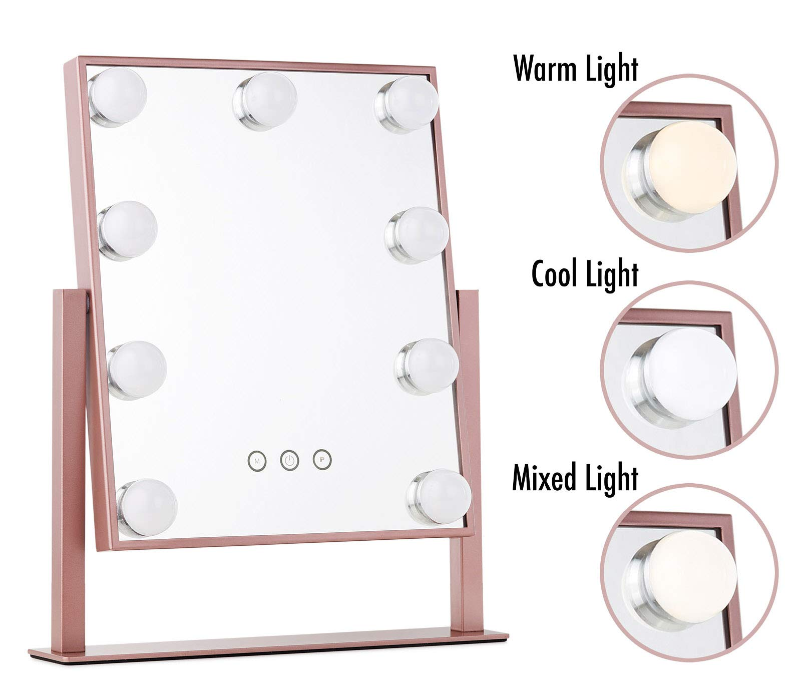 Vanity Makeup Mirror with Hollywood Lights - LED Lighted Make Up Vanity for Cosmetics - Professional Tabletop Beauty Mirror - ROSE GOLD by My Comfort Living