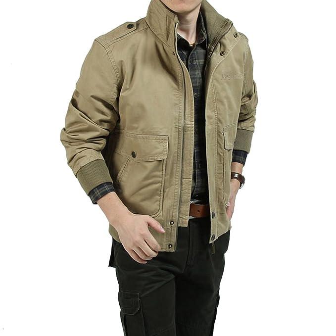 delamode Hombres Jeep marca Cárdigan Cuello Casual chaqueta cremallera bolsillo Outcoat: Amazon.es: Ropa y accesorios
