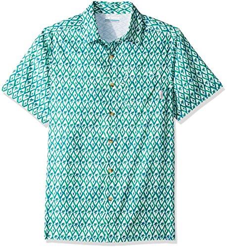 Columbia Mens Super Slack Tide Camp Shirt, Vivid Blue Diamond Palms Print, Large