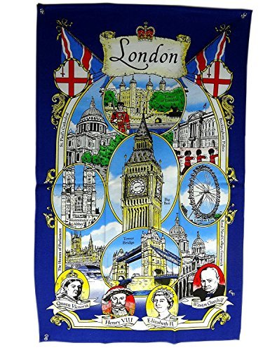Tea Towel / Wall Hang with London Big Ben and Landmarks with Famous People Faces, London Souvenir