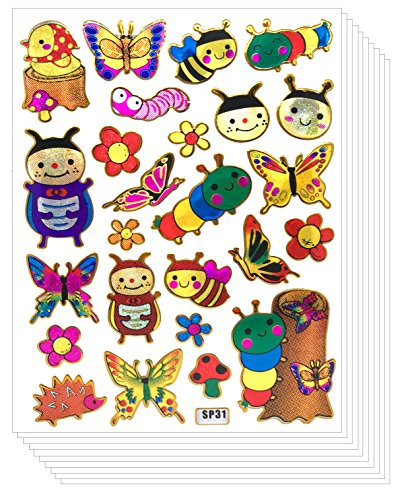 Insect Bug Butterfly Worm Glitter Gold Metallic Scrapbook Stickers for Kids (10 sheets)