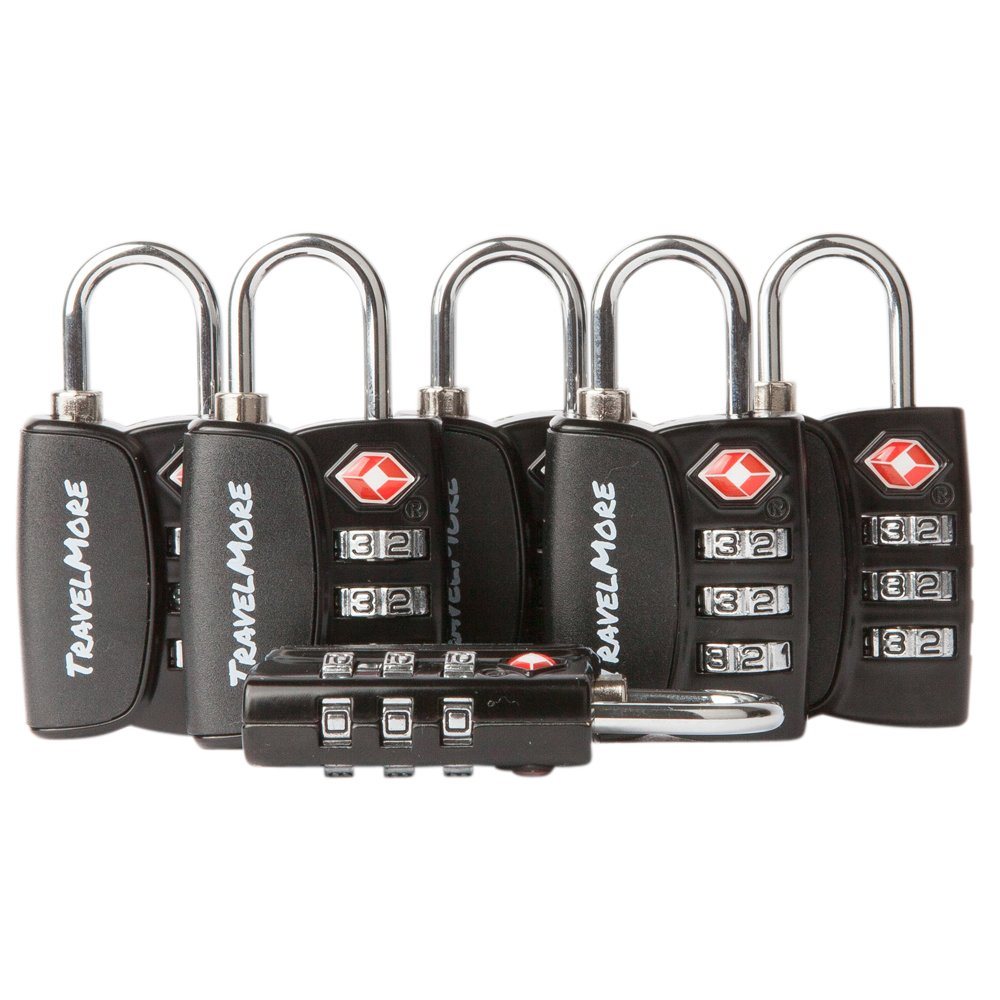6 Pack Open Alert Indicator TSA Approved 3 Digit Luggage Locks for Travel Suitcase & Baggage (Black) by TravelMore (Image #1)