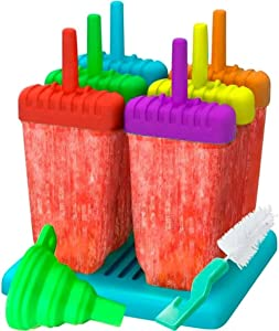 Popsicle Molds Maker 6 Ice Pop Makers Reusable with Sticks-Trays for Homemade Popsicles- Silicone Funnel & Cleaning Brush Multicolored