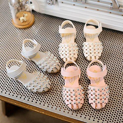 Scothen Niñas zapatos de la princesa huecos decorativos zapatos estudiantes boda sandalia de cuero zapatos de baile de la mariposa niños bucle partido relucientes ventas cargadores del tobillo Pink