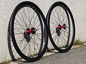 Ruedas flip flop de aluminio para bicicletas monomarcha, 700C, color negro y rojo: Amazon.es: Deportes y aire libre