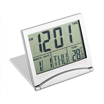 Reloj Despertador Digital LCD, diseño Moderno Escritorio portátil Plegable Reloj Digital LCD Termómetro Calendario Reloj Despertador Datos de la Cubierta ...