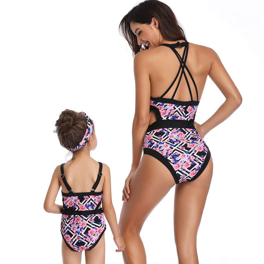 Yucode Mother Daughter Swimsuits Matching Family Mommy Girls Matching Swimwear
